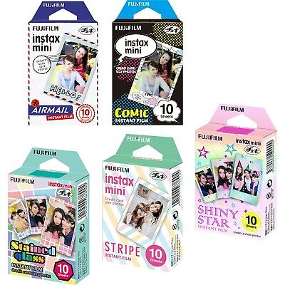Fujifilm Instax Mini 5 Pack Bundle Includes Stained Glass, Comic, Stripe, Shi...
