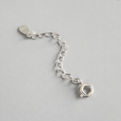 925 Solid Sterling Silver Extender //Safety Rolo Chain Necklace Bracelet Lock #1