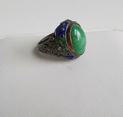 Antique Art Deco Chinese Silver Adjustable Enamel Jade Ring size 7.25