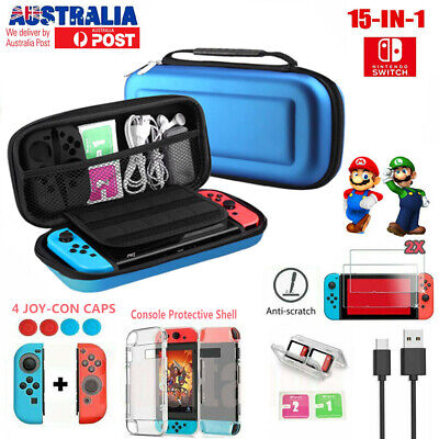 For Nintendo Switch Case EVA Carrying Bag Protective Shell Cover +Tempered Glass