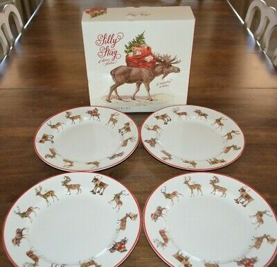 Pottery Barn Set of 4 Silly Stag Dinner Plates Reindeer Deer Christmas Open Box