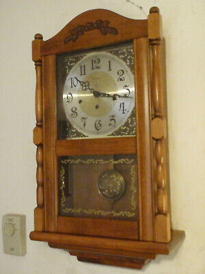 Ansonia Wall Clock Maple 8 Day Key Wound Hermle Westminster Chime
