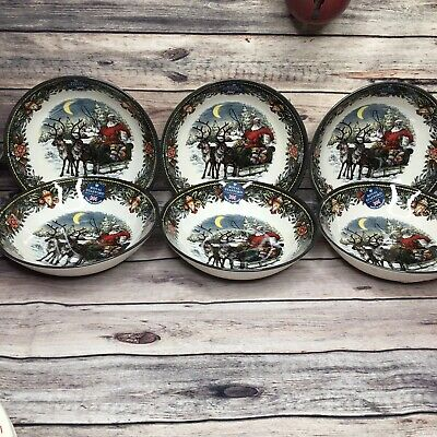 Royal Stafford 6 Christmas Santa Reindeer Sleigh Salad Soup Cereal Bowls Dishes