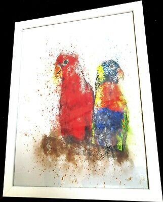 Watercolor Painting Parrots Print Wall Art Home Decor,  Framed print, Birds