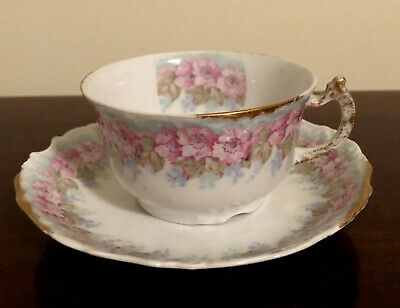 Antique 1900-1914 Limoges Elite Works France Cup & Saucer Floral Pink Rose Gold