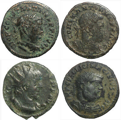 Four Ae Late Roman Coins Including Scarce Cinstantine The Great London Issue