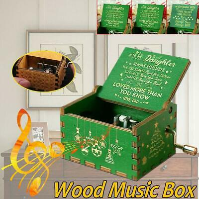 Retro Wooden Box Hand-Cranked Music Box Birthday Present Party Home Decoration