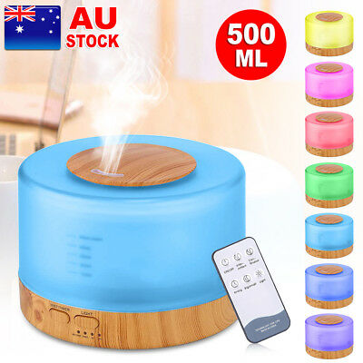 500ml Ultrasonic Essential Oil Aroma Diffuser Remote Air Lamp Humidifier Light