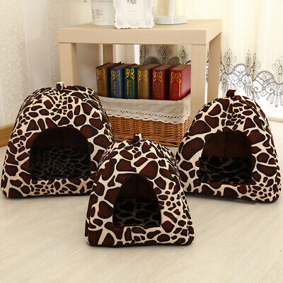 Pet House Strawberry Cave Sleeping Beds Cat Dog Tent Kennel Puppy Soft Warm Mat