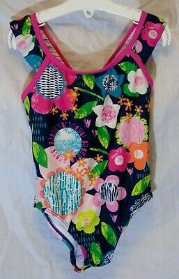 Girls George Blue Pink Multi Floral Swimming Costume Swimsuit Age 3-4 Years
