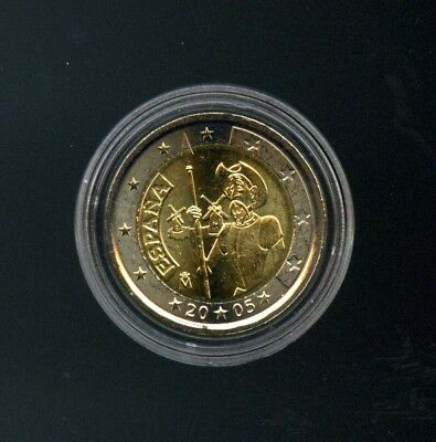 Espagne-Spain-2 EURO 2005 Commémorative On Quichotte- TBE-