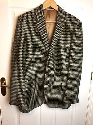 """Harris Tweed Jacket Overcoat Country Houndstooth Hacking Riding Vtg 40""""-42"""" Mens"""