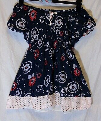 Girls George Blue Lilac Red Circle Flower Print Off Shoulder Dress Age 7-8 Years