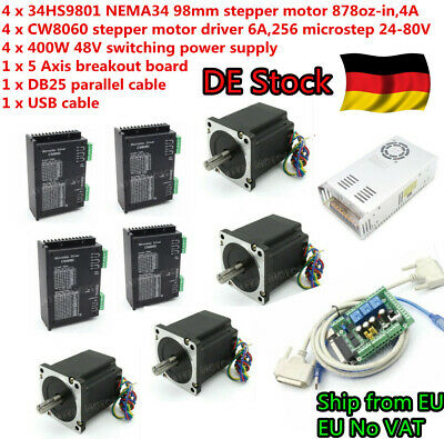 (DE)4 Axis Nema34 98mm Stepper Motor 878oz-in 4A+Driver 6A+48V Power Supply CNC
