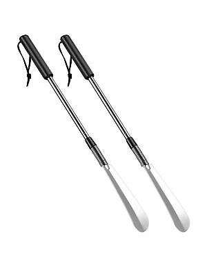 2 Pack Stainless Steel Shoe Horns Long Handle Shoe Horn with Comfort Grip for...