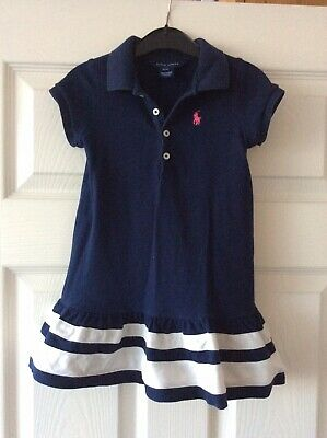 Girls Navy Blue Ralph Lauren Polo Dress Age 3 Good Condition