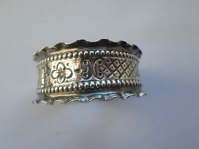 Antique hallmarked 1906 sterling silver napkin ring - 7.4 grams crimp edged