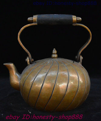 """8"""" Chinese Ancient Dynasty Palace Bronze Wine Tea Pot Flagon Teapot Stoup Statue"""