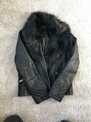 Girls Black Leather Look Jacket With Detachable Fur Col Age 9-10Years By George