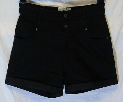 Girls New Look Plain Black Stretch Denim Turn Ups Casual Shorts Age 14 Years