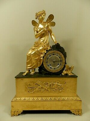 Antique French gilt & patinated Bronze clock with Fairy and the Butterfly, ca 18