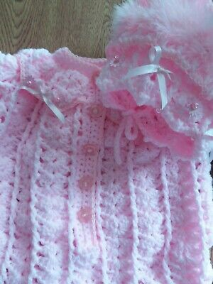 Hand knitted/ CROCHET  Baby  Girl all in one and bonnet 3/6 month pink