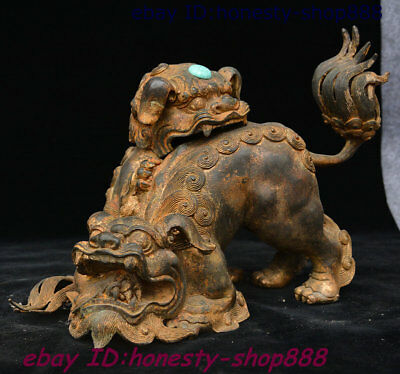 "13"" Chinese Bronze Gilt Gem Foo Fu Dog Guardion Lion Beast Incense Burner Censer"