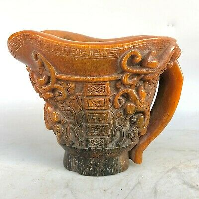 Collectible Chinese Old Vintage Handwork 0x H0rn Carve Chi Dragon Tiger Wine Cup