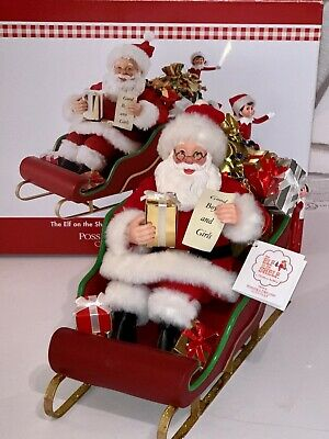 2016 Possible Dreams Clothtique Elf On The Shelf Delivering With Santa NWT & Box