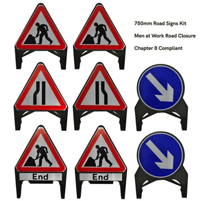 Traffic Management Road Signs Kit: Men at Work / Road Closure 750mm