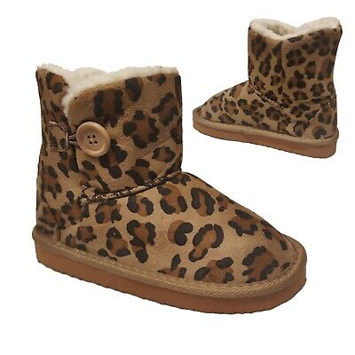 Uk Kids Girls Winter Fur Leopard Comfy Warm Winter Slippers Shoes Toddler Boots