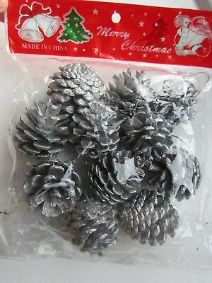 11 metallic silver pine cones christmas tree hanging decorations wreath festive