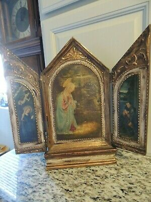 Antique Carved Wood Gilded Italy Triptych Relgious Print Painting Mary & Jesus