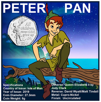 50p IOM 2019  PETER PAN BRAND NEW UNCIRCULATED   GREAT GIFT IDEA