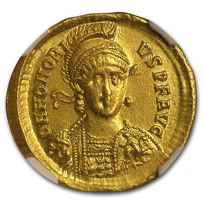 Western Rome Gold Solidus Emperor Honorius (393-423 AD) Ch AU NGC - SKU#179281