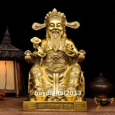 Chinese copper Bronze god of wealth Dragon Mammon fortune old man buddha Statue
