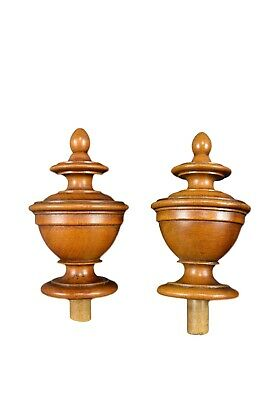 French Antique Pair of Walnut Wood Finials