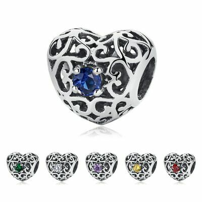 NEW Pandora SIGNATURE HEART Birthstone CHARM, S925 ALE With Pandora Pouch Gift