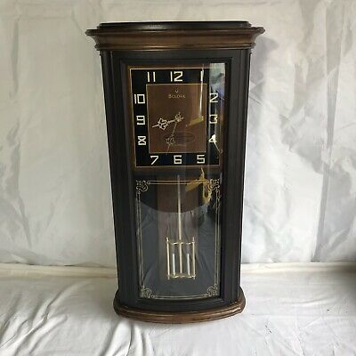 "BULOVA Westminster-Whittington Chimes Pendulum Wall Clock ""Mayfield"" Model"