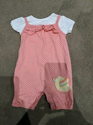Bluezoo Romper All In One Baby Girls Pink Outfit Size 3-6 Months 2 Piece Set