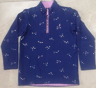 Age 11-12 yrs girls Joules blue sweater jumper top silver stars pink/purple trim