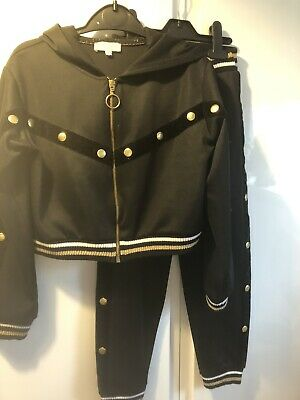 Girls River Island Black Hooded Tracksuit Age 9-10 Years