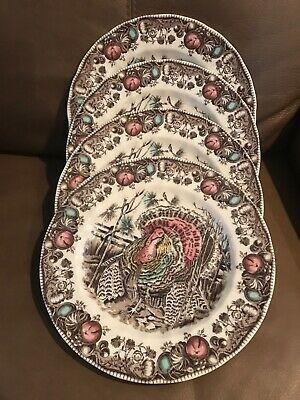 Johnson Brothers Bros His Majesty 4 Turkey Thanksgiving Dinner Plates Dishes