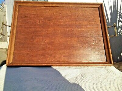 ANTIQUE VINTAGE WOODEN BUTLERS SERVING TRAY with BRASS HANDLES