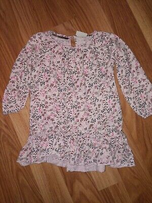 Next Girls Pink Floral Tunic Top Dress Age 3-4