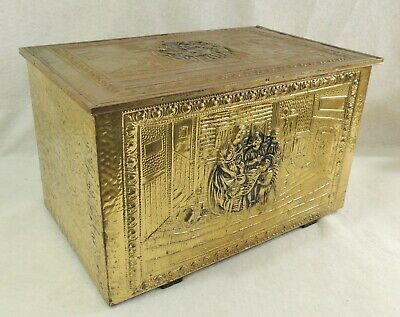 "Large Vintage 20"" England Brass Repousse Figural Scene Blanket Chest Trunk Box"