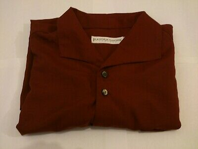 Mens Retro Burgundy Shirt Size Large With Baggy Sleeves