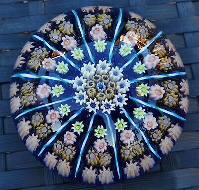 PERTHSHIRE PAPERWEIGHTS CARTWHEEL MILLEFIORI CANES LARGE PAPERWEIGHT 1960's 70's