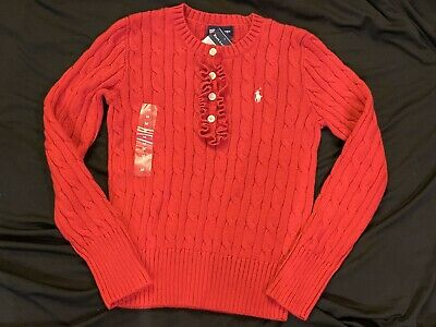 NWT Ralph Lauren Girls Mini Cable Cotton Cardigan Red Gray Sweater Sz 5 6 6x NEW