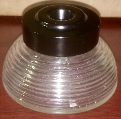 Antique Art Deco Ribbed Clear Glass Ink Well with Bakelite Top 1950's EX+ Cond.